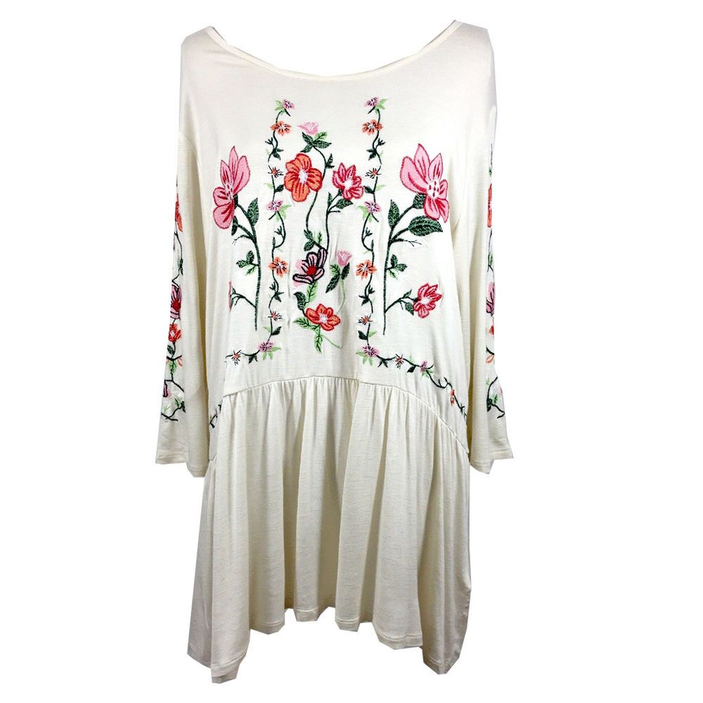 980376a6dcfccf Adiva Women's Ivory Embroidered Floral Peasant Blouse Top Boho Plus Size 1X  NEW! #Adiva #PeasantBlouseTunicRelaxedBohoStyle #Casual