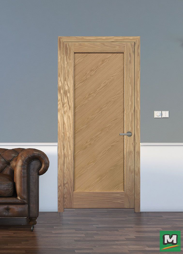 Add Style To Any Room With This One Panel Oak Door From Mastercraft It Features A Unique Diagonal Grain Patter Prehung Interior Doors Prehung Doors Oak Doors