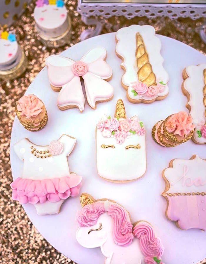 Baby Shower Unicorn ~ Cookies from a burgundy blush unicorn baby shower on