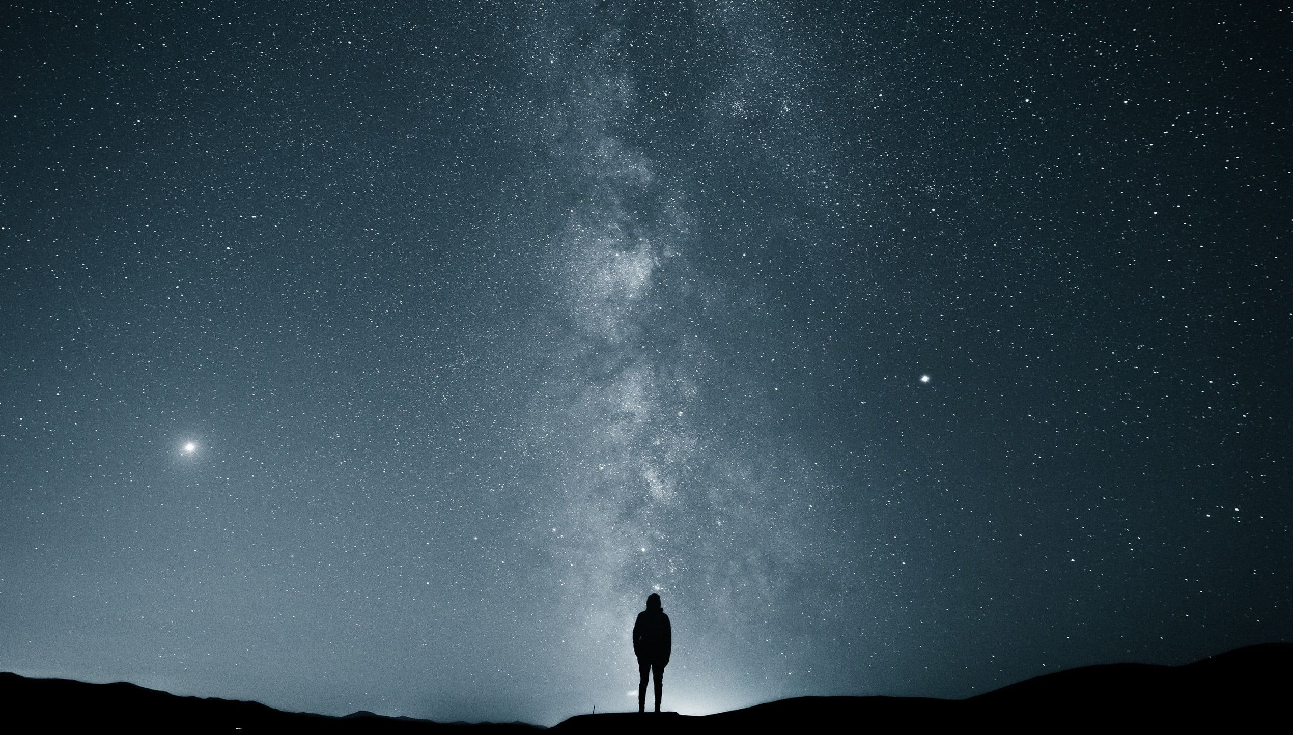 Man Silhouette Stars Sky Milky Way Alone Landscape Night Night Sky Space Black Silhouette 1080p W Milky Way Photography Astrophotography Sky Pictures Hd wallpaper alone man silhouette rock