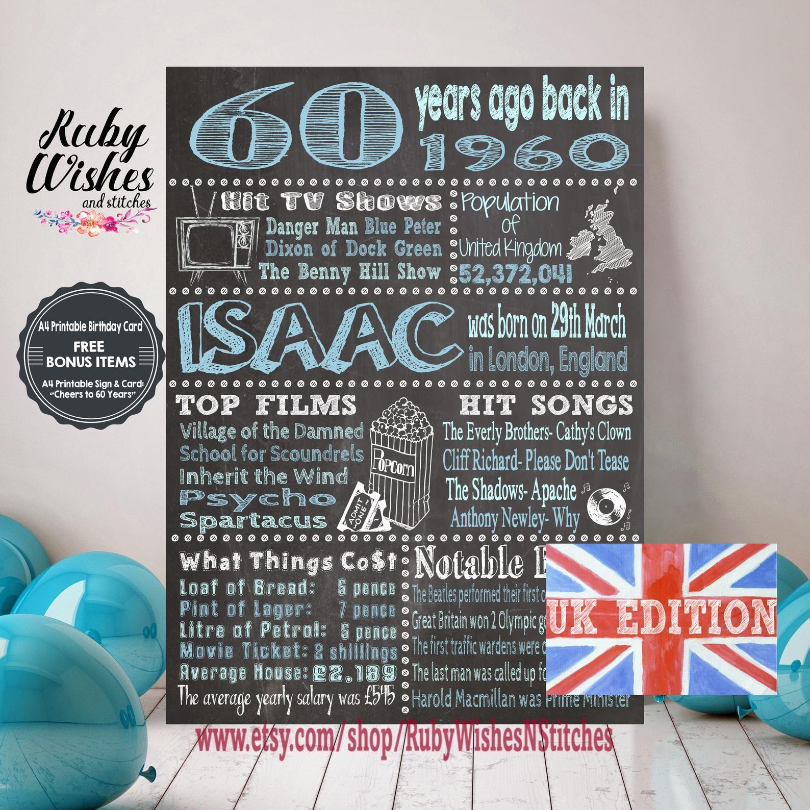 Personalised 60th Birthday 1960 Chalkboard Printable British Etsy Birthday Card Printable 60th Birthday Poster 60th Birthday