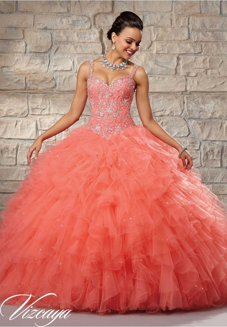 2810ab0b415 Quinceanera Dress 89027 Embroidered and Beaded Bodice on a Ruffled Tulle  Skirt Hot Pink