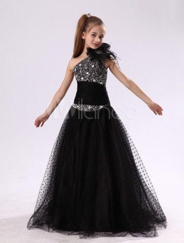 de553cace40 Flower Girl Dresses Black One Shoulder Junior Bridesmaid Rhinestone ...