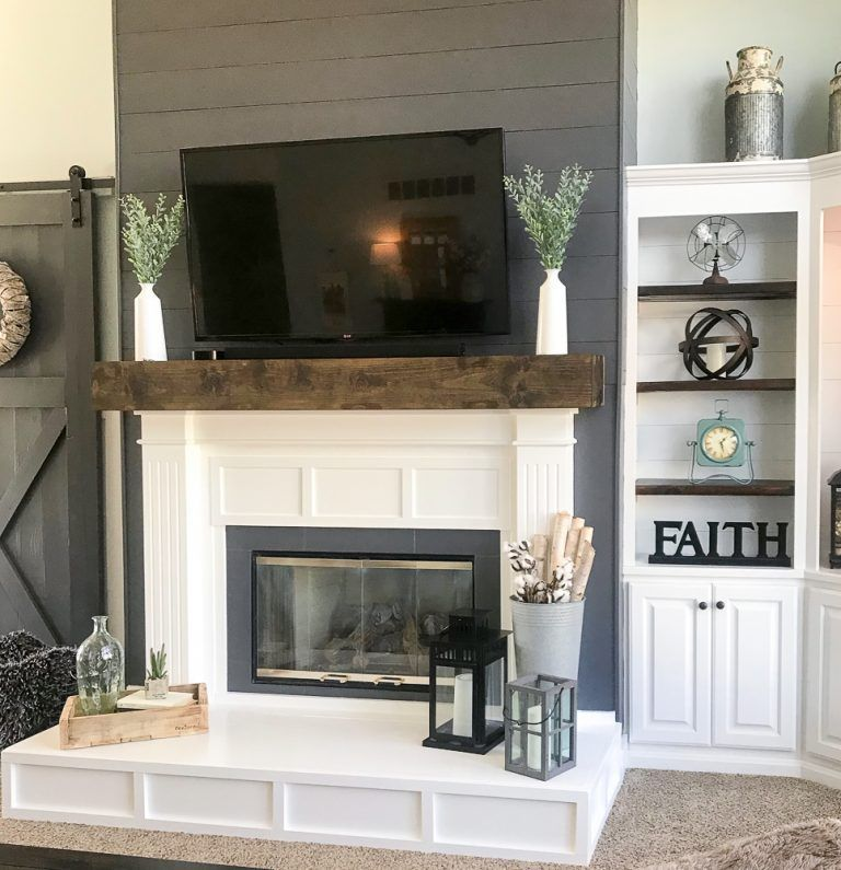 Photo of Fireplace Makeover from Contemporary to Modern Farmhouse – Repurpose Life