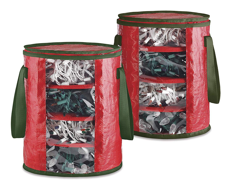 Amazon Com Whitmor Christmas Light Storage Bags Set Of 2 Red Green Storage Organization Christmas Light Storage Holiday Organization Gift Wrap Storage
