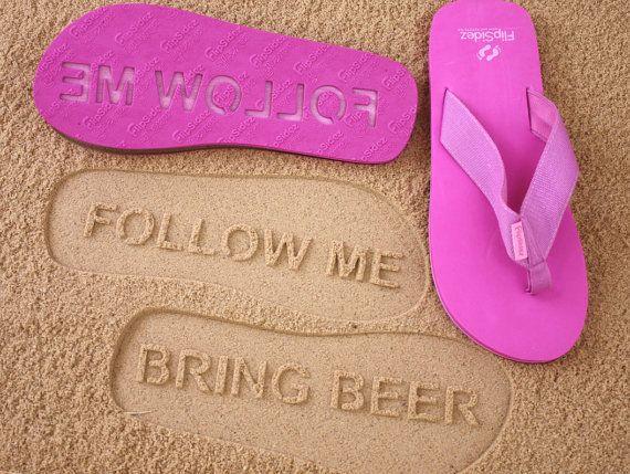 b7852cc1bd7825 Custom Follow Me BRING BEER Flip Flops - Personalized Booze Themed ...