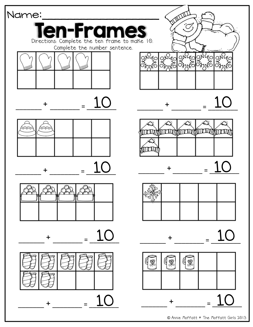 Worksheets Making Ten Worksheets ten frames math for winter different ways to make 10 10