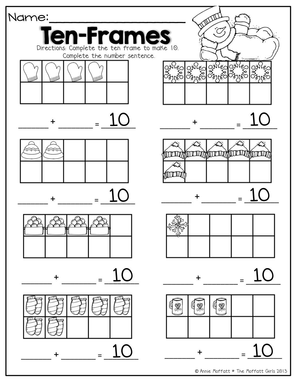 Worksheets Ten Frame Worksheets ten frames math for winter different ways to make 10 10