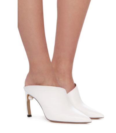 Mira Pearl Embellished Leather Mule By