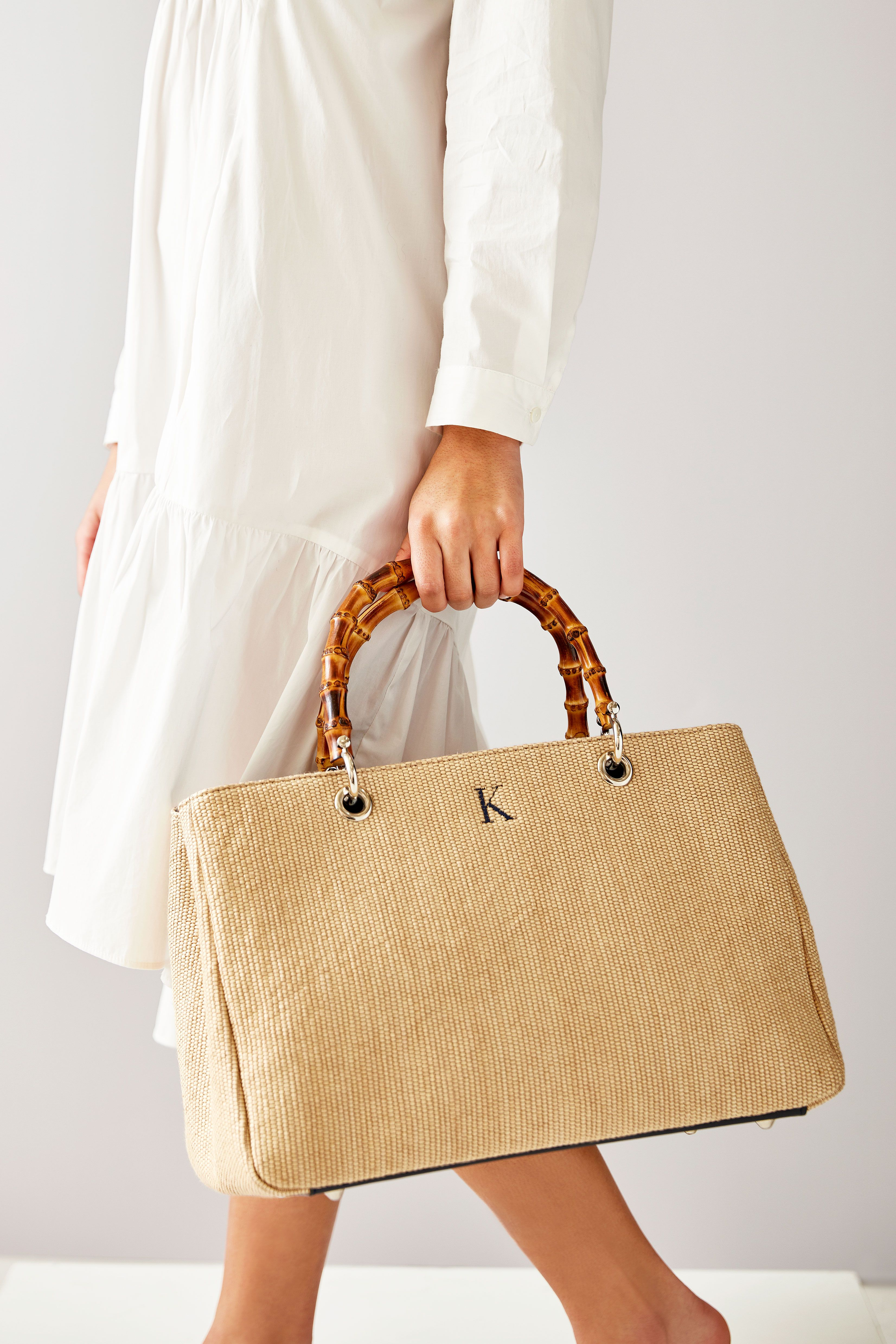 MARINA BAG Handmade grooved cotton /& Leather Shopping bag\\tote