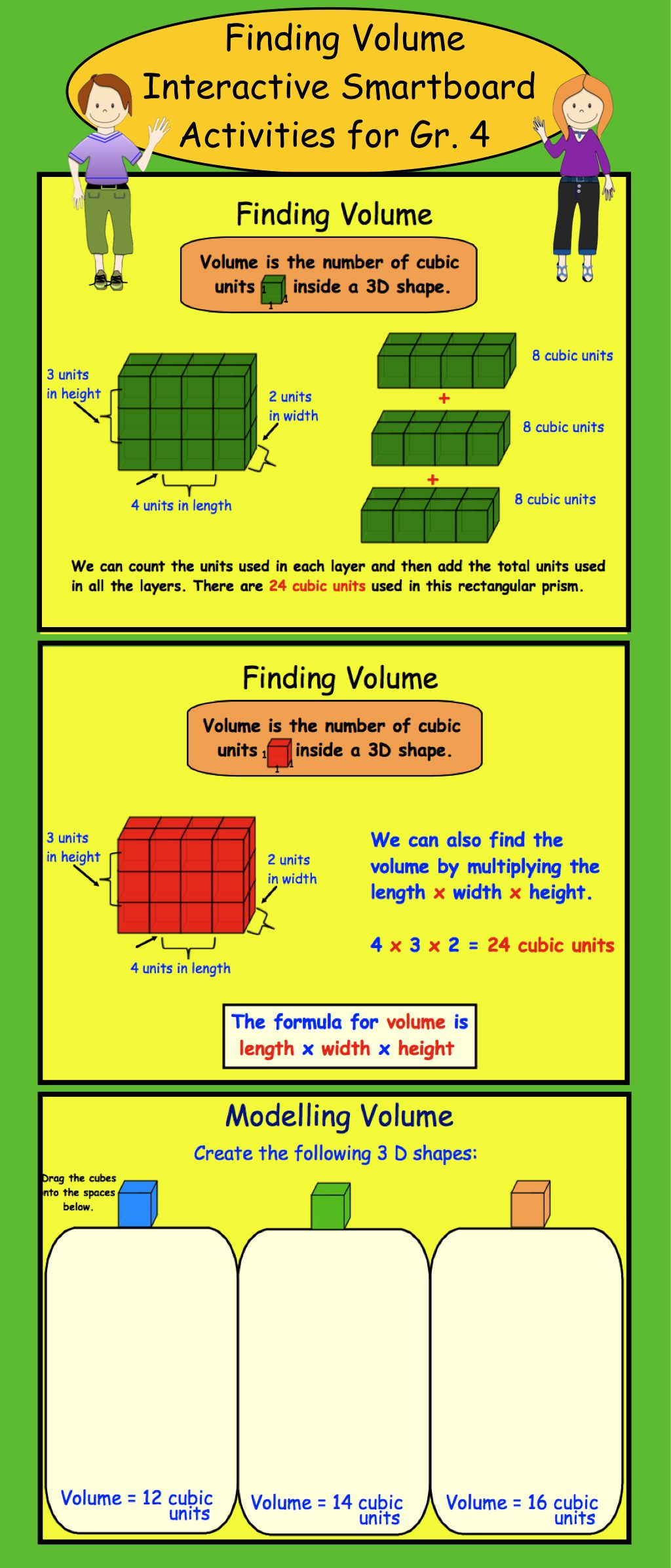 Finding Volume: Interactive SMARTboard Lesson & Printables
