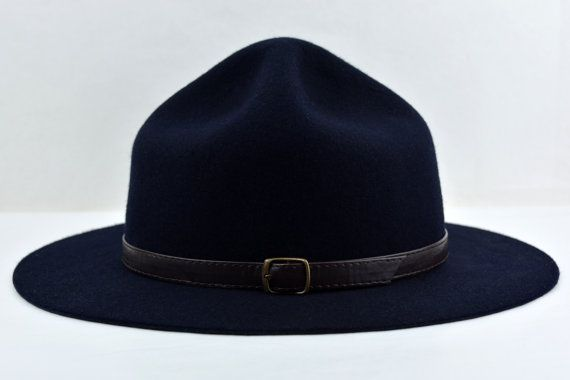 Navy Blue Wool Felt Scout Hat Pure Merino Wool by AgnoulitaHats ... 94cfd8bd694