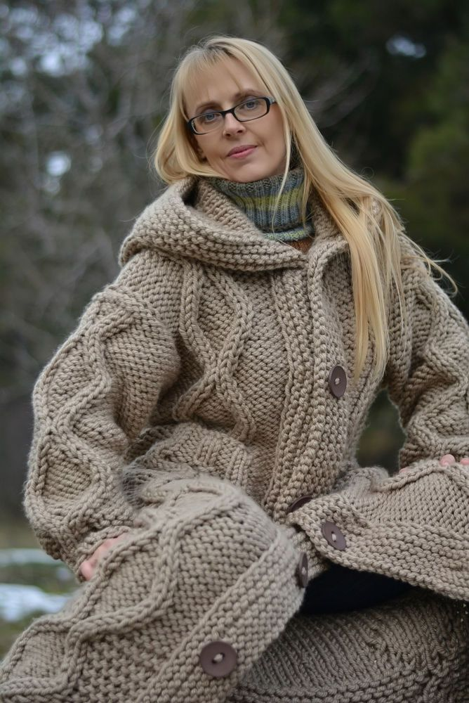 DUKYANA Hand Knitted WOOL no Mohair Sweater COAT New Thick CARDIGAN ...