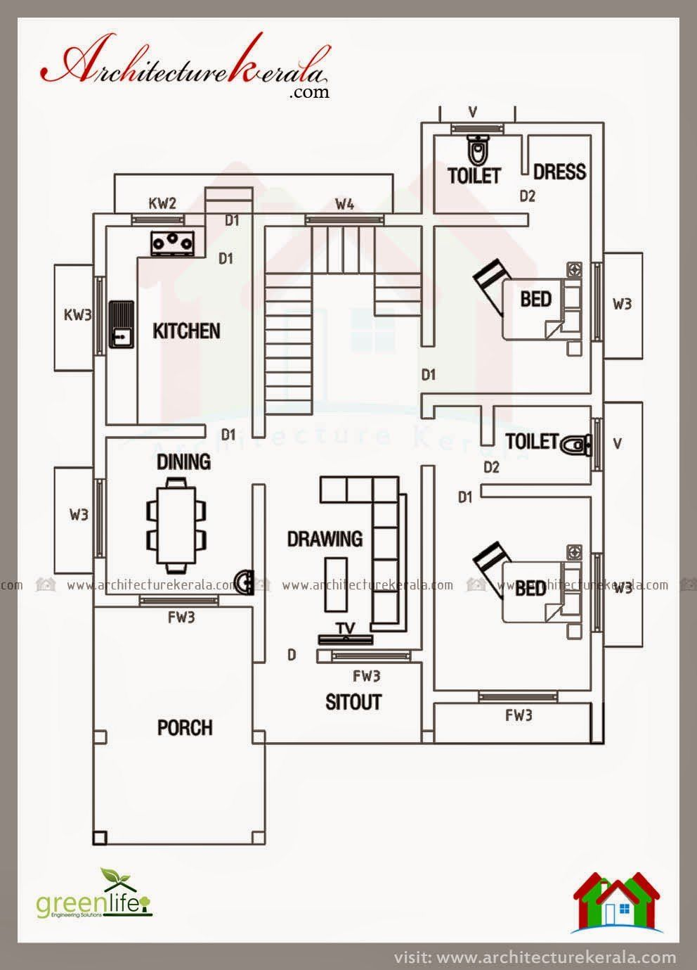 2500 Sq Foot House Plans New Below 2000 Square Feet House Plan And Elevation In 2020 2bhk House Plan New House Plans House Layout Plans