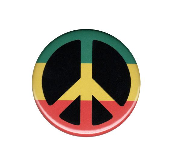Rasta peace sign pinback button badge pin 44mm by thestickergal 1 50