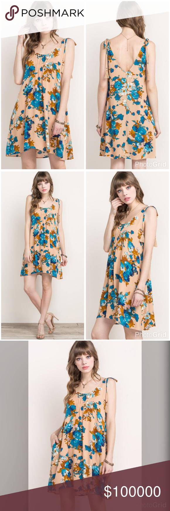 Floral self tie tassel swing dress with pockets! Stunning in sand and ocean blues this dress is flattering in a swing cut light pleating at bust with top tie tassels and pockets! Dresses