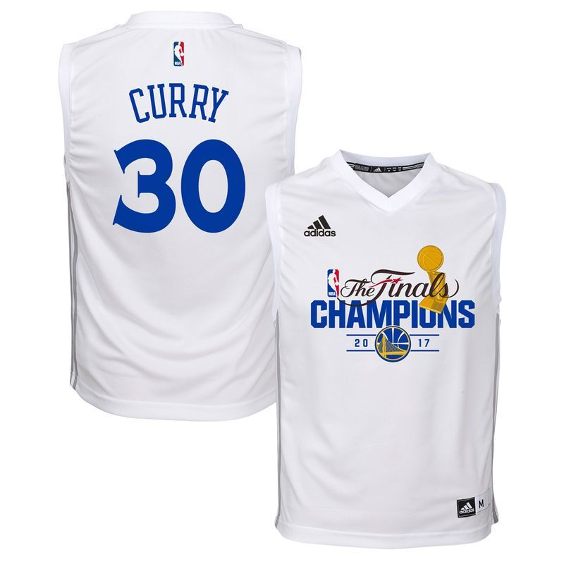 22d0711d4 Stephen Curry Golden State Warriors adidas Youth 2017 NBA Finals Champions  Fashion Replica Jersey - White
