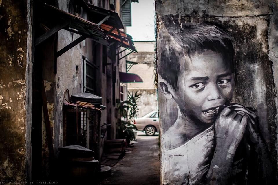 Street Art by Julia Volchkova in George Town, Malaysia.
