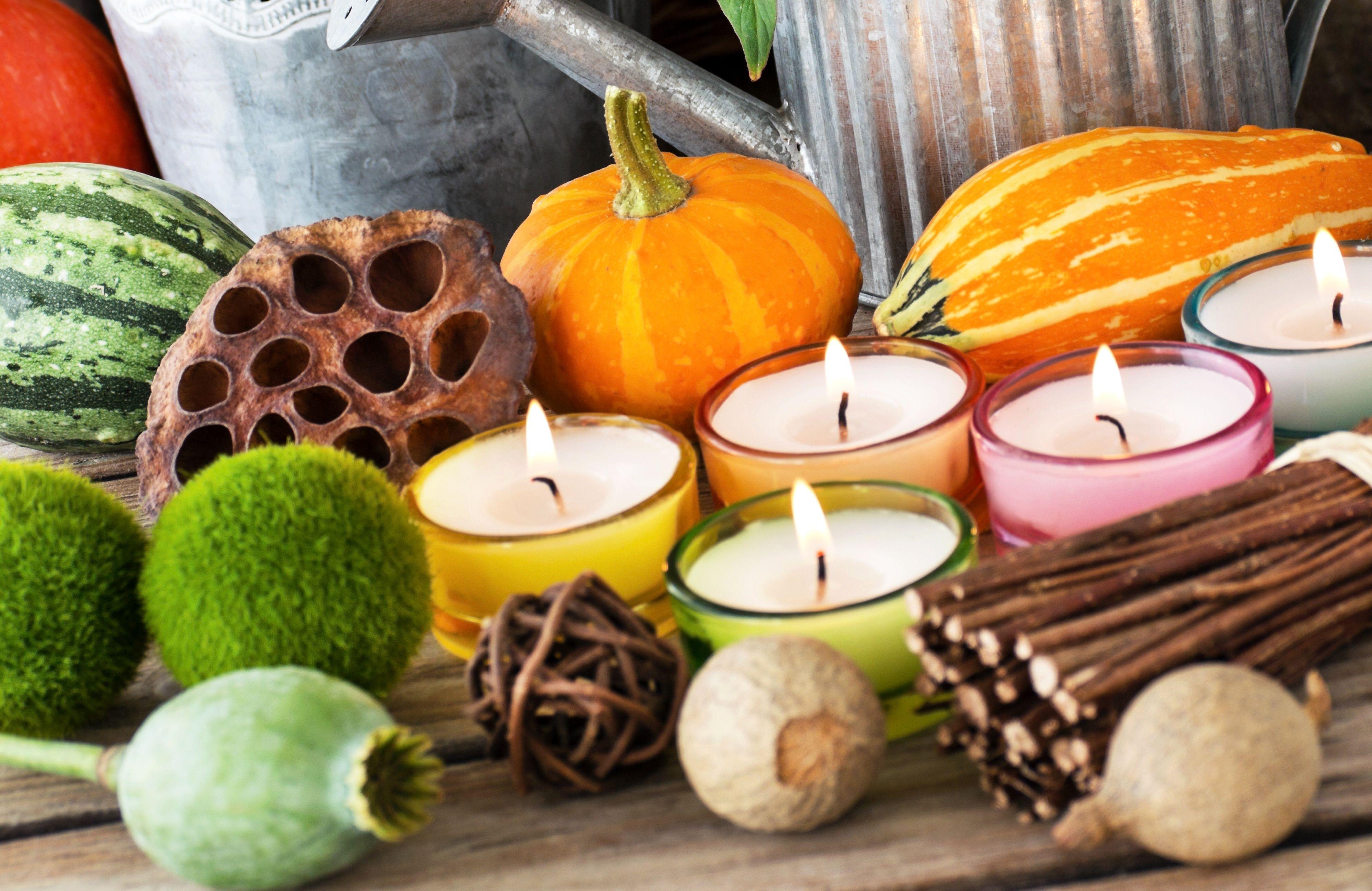 Скачать обои осень, украшения, декор, свечи, раздел разное ...