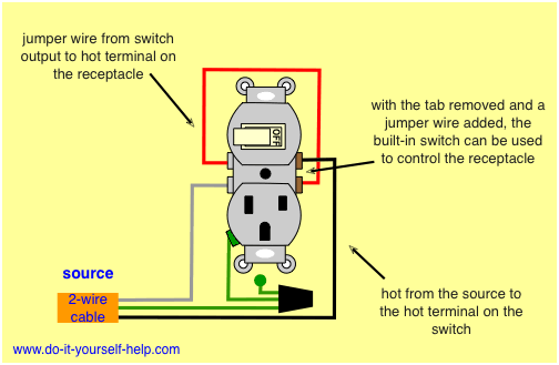 combination switch receptacle wiring diagram wiring diagram combo rh pinterest com A Light Switch and Outlet Combination Wiring Switch Controlled Outlet Wiring Diagram