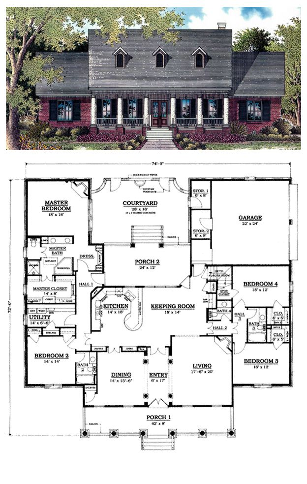 One Story Style House Plan 96521 With 4 Bed 4 Bath 2 Car Garage Courtyard House Plans Log Home Floor Plans House Plans