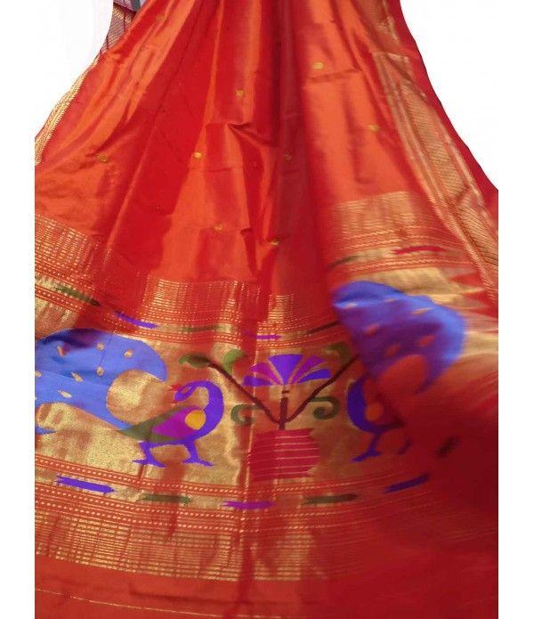 Orange Handloom Paithani Pure Silk Dupatta