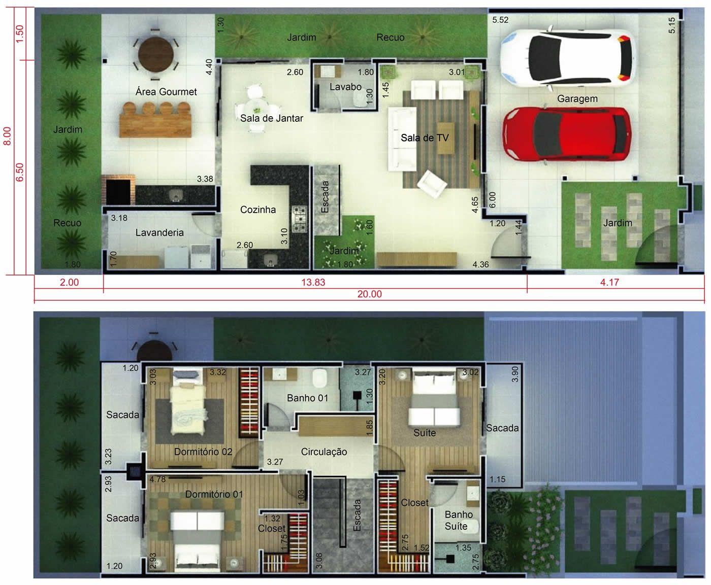 Plano De Casa De 3 Habitaciones Con Balcon Plano Para Terreno 8x20 Planos De Casas Casas Disenos De Casas