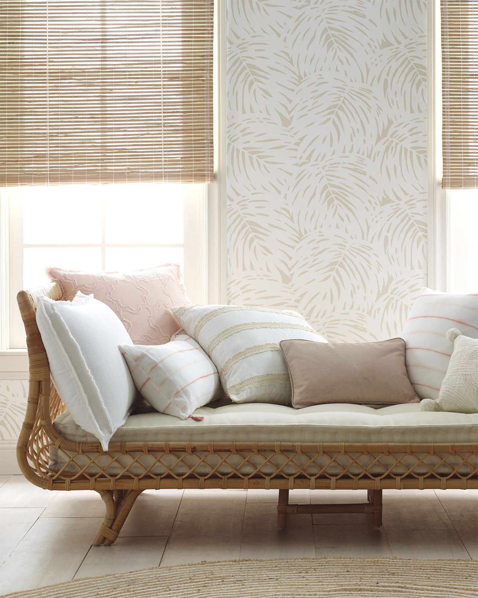 Palm Wallpaper Palm wallpaper, Daybed in living room