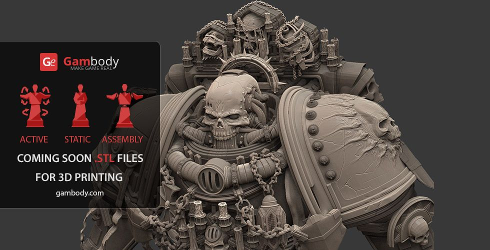 Chaplain 40k 3D Printing Figurine | Assembly | Models | 3d