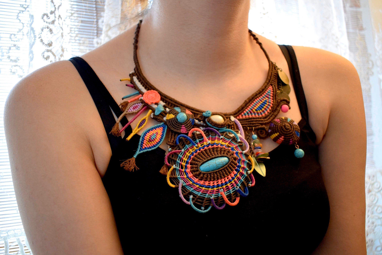 Ethnic Necklace Tassel Necklace Colourful Necklace Women/'s Jewellery Graduation Beaded Necklace Long Boho Necklace Gemstone Necklace