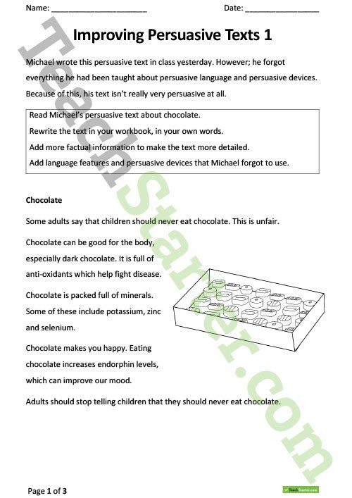 Improving Persuasive Texts Worksheets Teaching Resource Persuasive