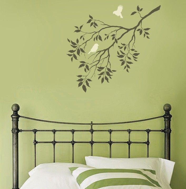 Wall Stencil Birds on a Branch