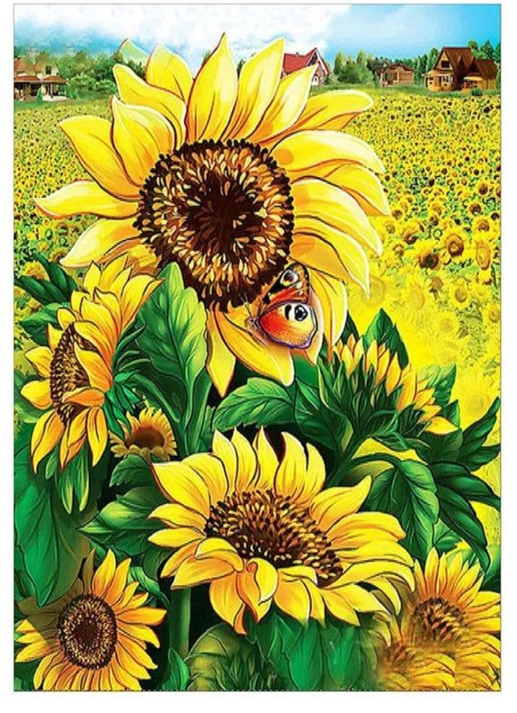 Us Seller Large Sunflowers Flowers 5d Diamond Painting Art Kit Round Drills Full Drill Combined S H To Cross Paintings Sunflower Painting Diamond Painting