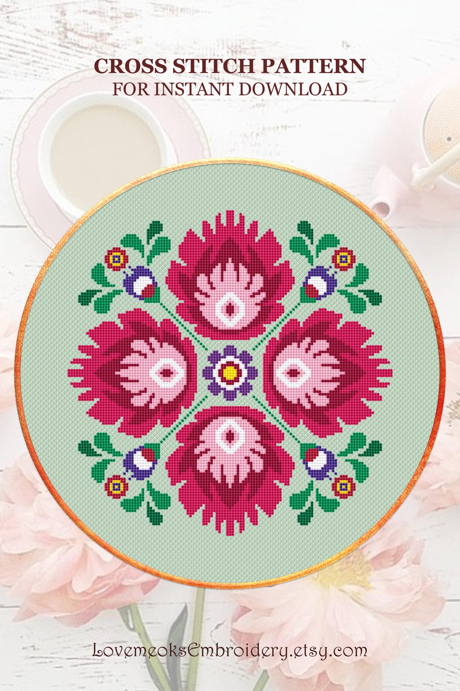 Green Harmony Flower  Cross Stitch Pattern Illustration Modern Embroidery Instant Download PDF