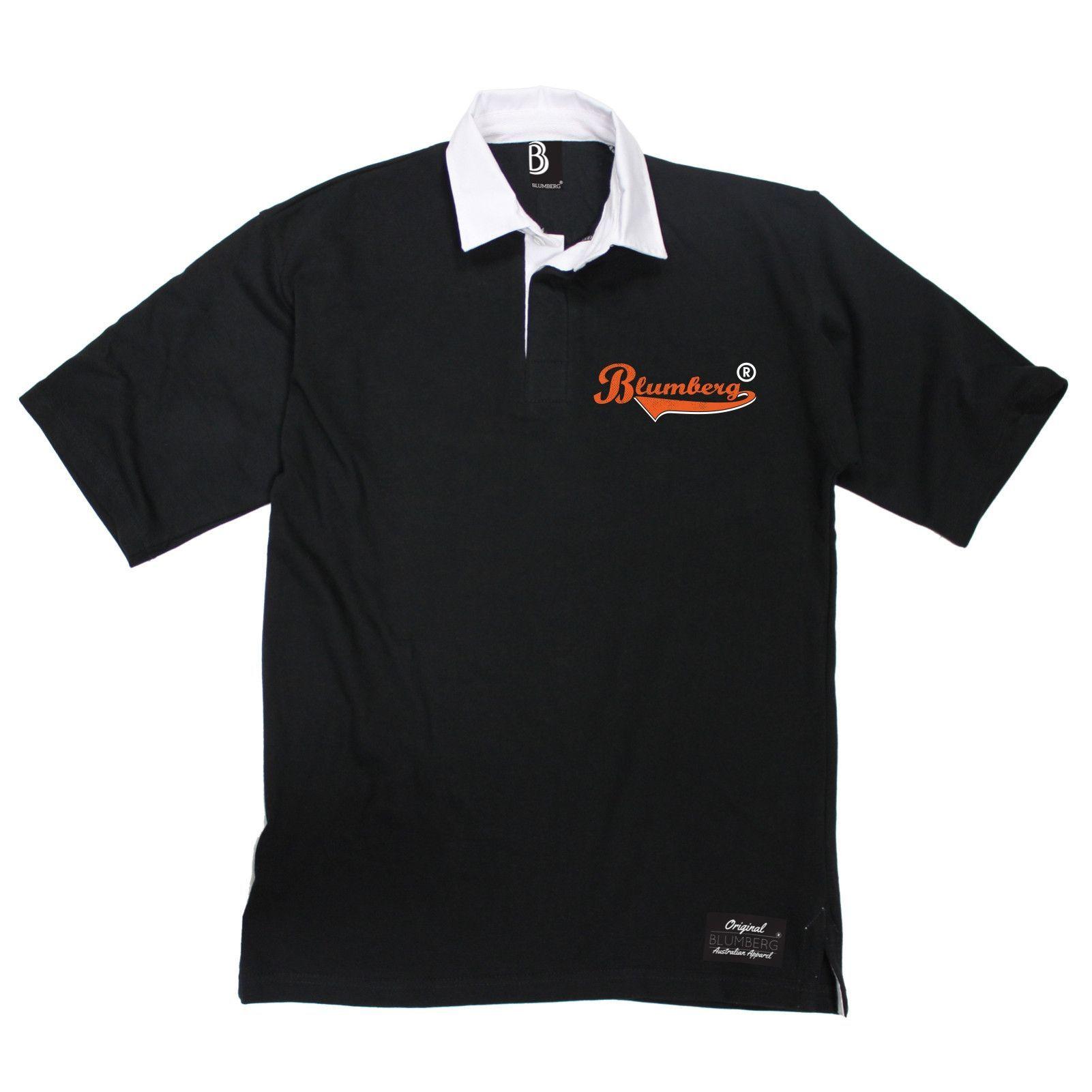 Design t shirt rugby - Blumberg Australia Men S Orange Text Breast Pocket Design Premium Rugby Shirt