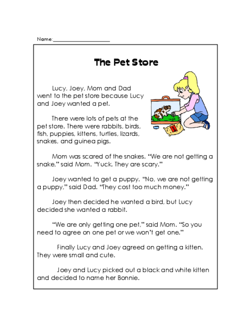 The Pet Store - Reading Comprehension | Shops, Comprehension and ...