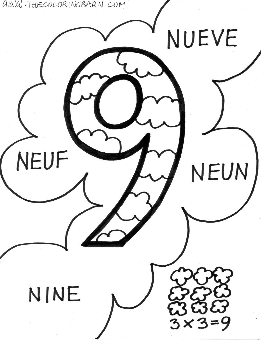 Google Image Result For Http Www Thecoloringbarn Com Wp Content Uploads 2010 Coloring Pages Letters And Numbers Number 9