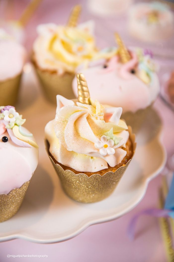 Unicorn cupcake from a Baby Unicorn 1st Birthday Party on Kara's Party Ideas | KarasPartyIdeas.com (31)
