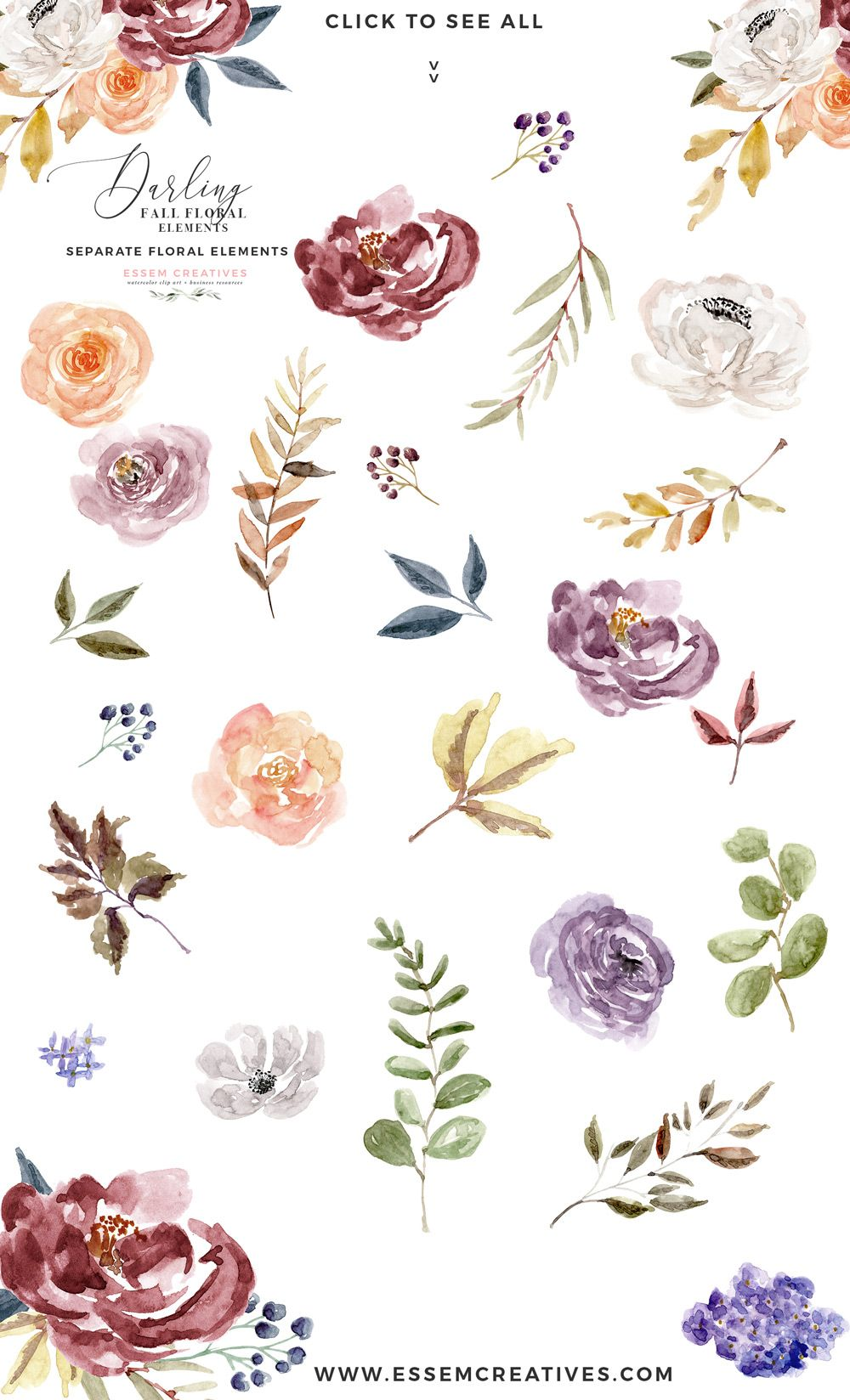 Fall Floral Watercolor Clipart Burgundy Rose Gold Geometric
