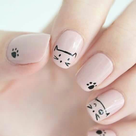 Kitty cat nail art | Olive These Nails | Pinterest | Cat nails ...