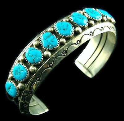 Vintage Old Pawn Navajo Sterling Silver TURQUOISE ROW BRACELET Mens