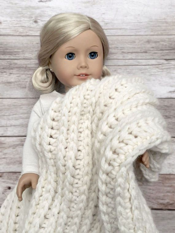 "DIY Crochet Pattern – 18 inch Doll Fisherman\'s Throw Blanket 18""x 21 ..."