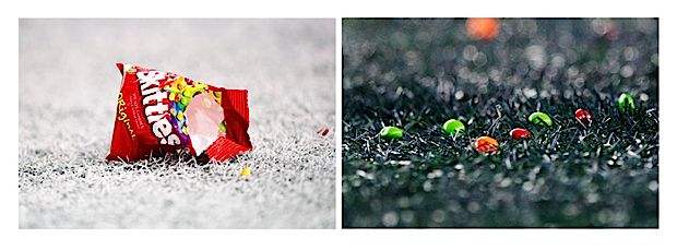 """After Lynch's touchdown, Skittles rained down on the turf in the end zone. Skittles are Lynch's """"go-to"""" candy before, during and after game as was widely-publicized after his last prime-time performance on Thursday Night Football two weeks ago. #favoriteseahawksphoto"""
