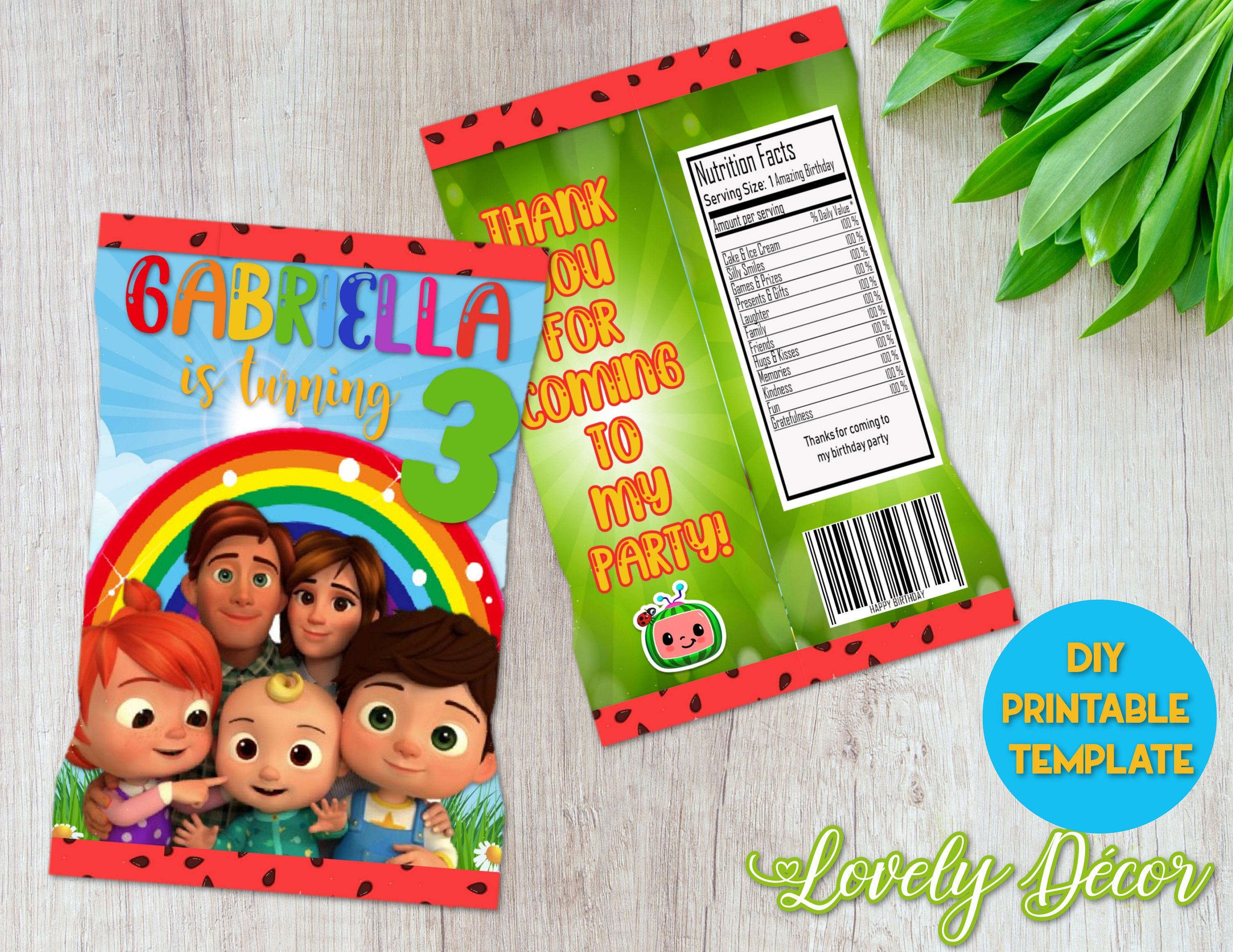 Candy Bag CocoMelon Theme Custom Chip Bags Party Bags Personalized Party Favour Chip Bags - DIGITAL FILE