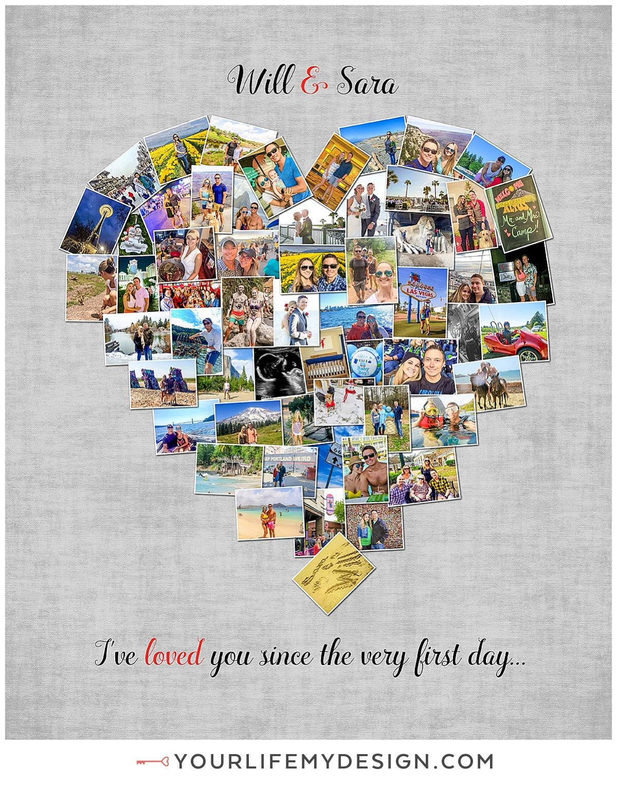 16x20 with 58 photos heart collage ❤ Background 8 Font 11 / Love Collage, Anniversary gift
