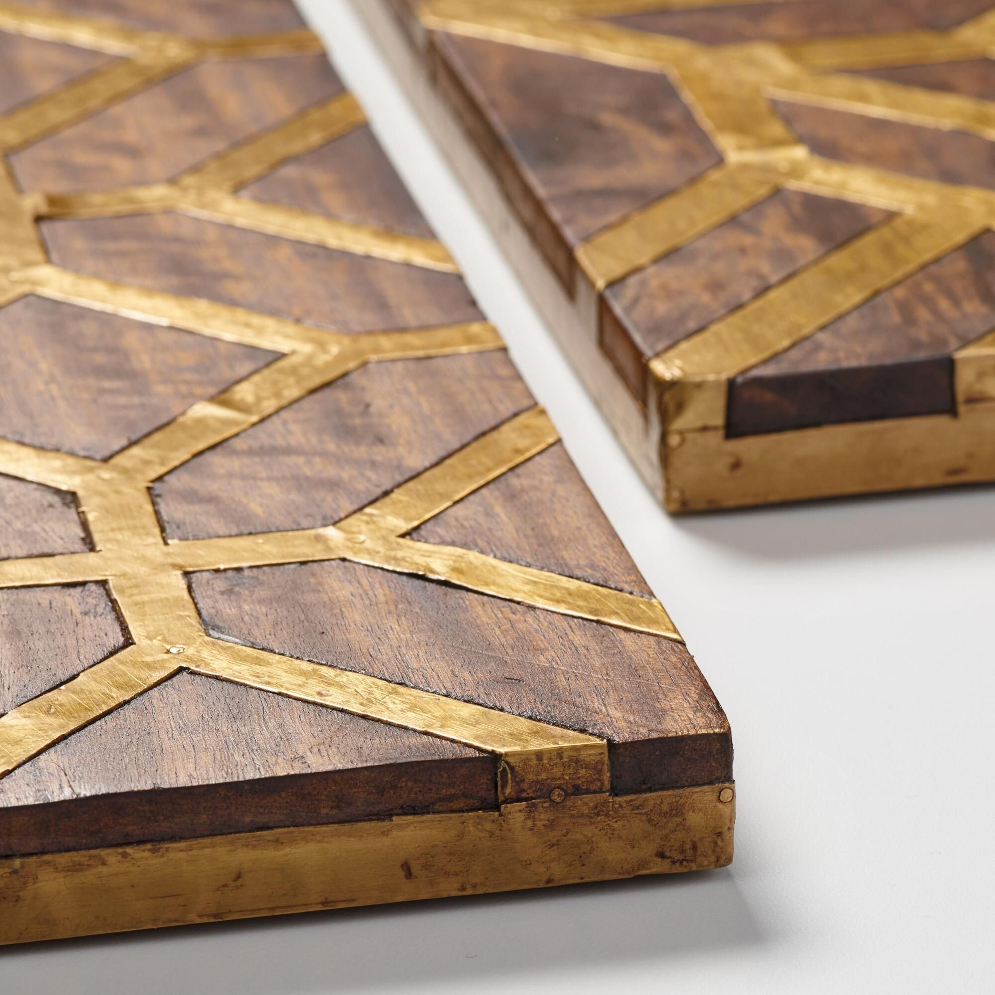 Metal Floor Inlays : Metal inlay wood panels set of world market art and