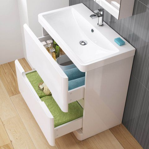 800mm Tuscany Gloss White Built In Basin Drawer Unit Floor Standing White Bathroom Furniture Bathroom Furniture Storage Basin Unit