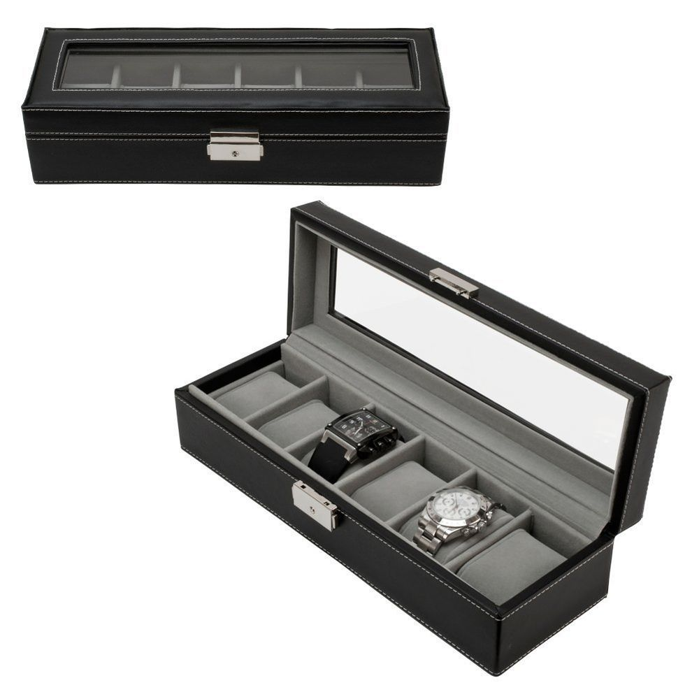 Watch Box 6 Mens Leather Display Glass Top Jewelry Case Organizer