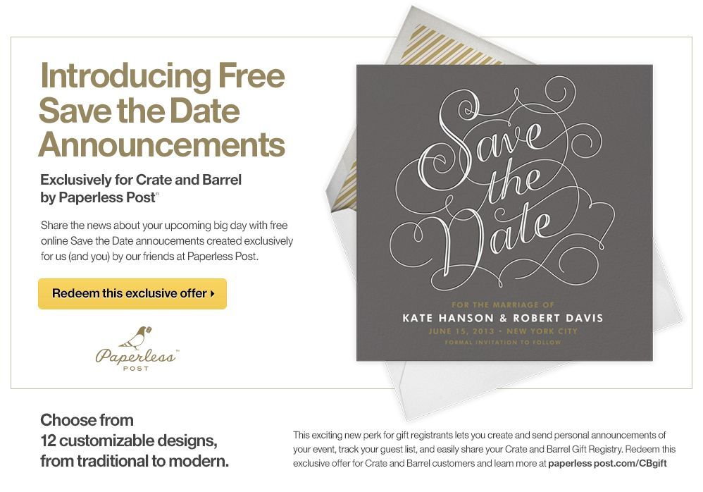 Paperless Post Paperless Post Save The Date Online Online Gift Registry