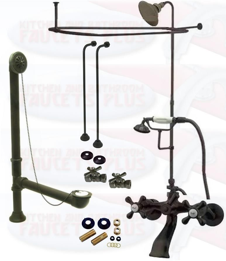 Oil Rubbed Bronze Clawfoot Tub Kit W/Shower Riser, Enclosure